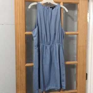Dusty blue open back dress